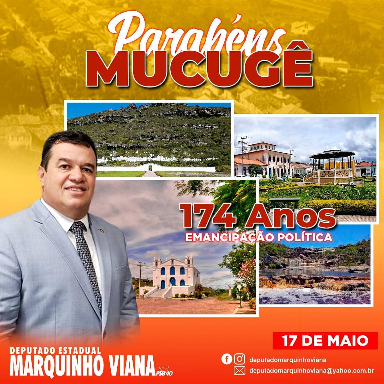 Deputado Marquinho Viana parabeniza Mucugê pelo aniversário de emancipação política