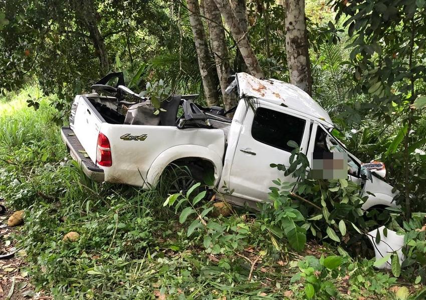 Ubatã: Homem morre e outro fica ferido após caminhonete sair de pista e bater em árvore