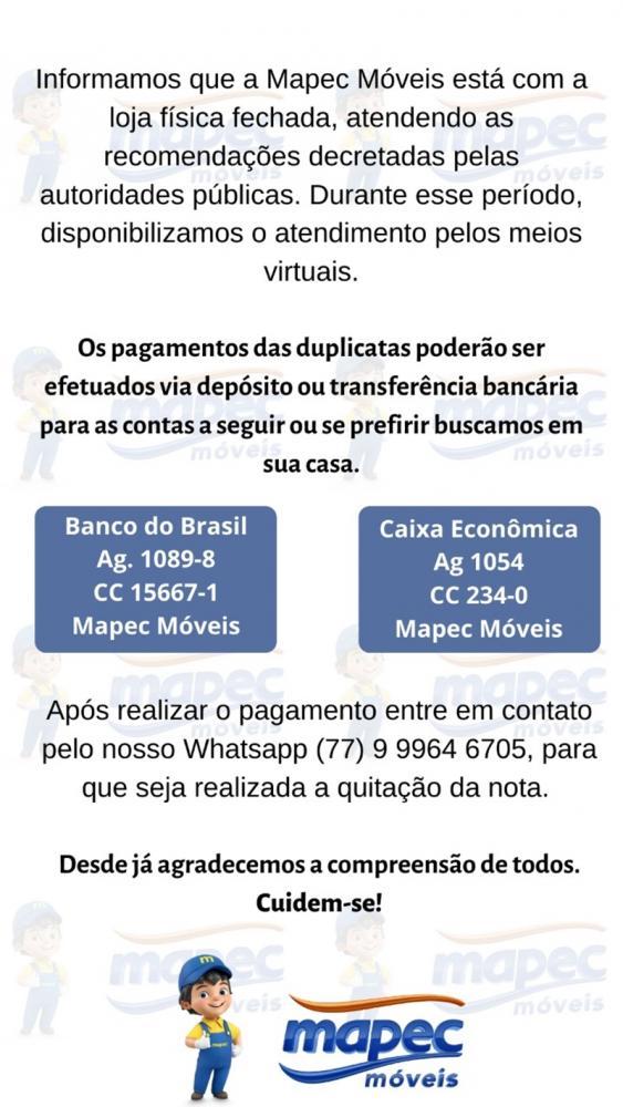 Loja Mapec Moveis disponibiliza opções para pagamentos de duplicatas