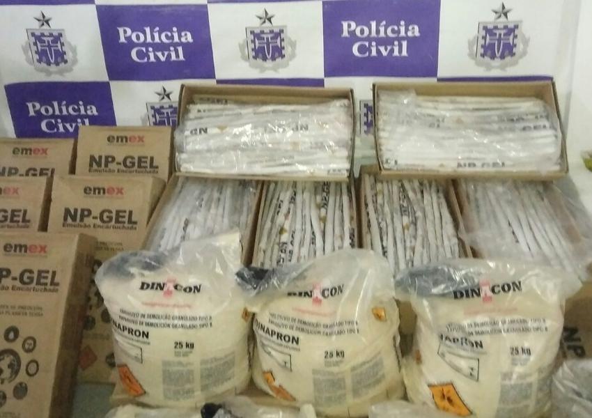 Mais de meia tonelada de explosivos é apreendida em depósito em Novo Horizonte
