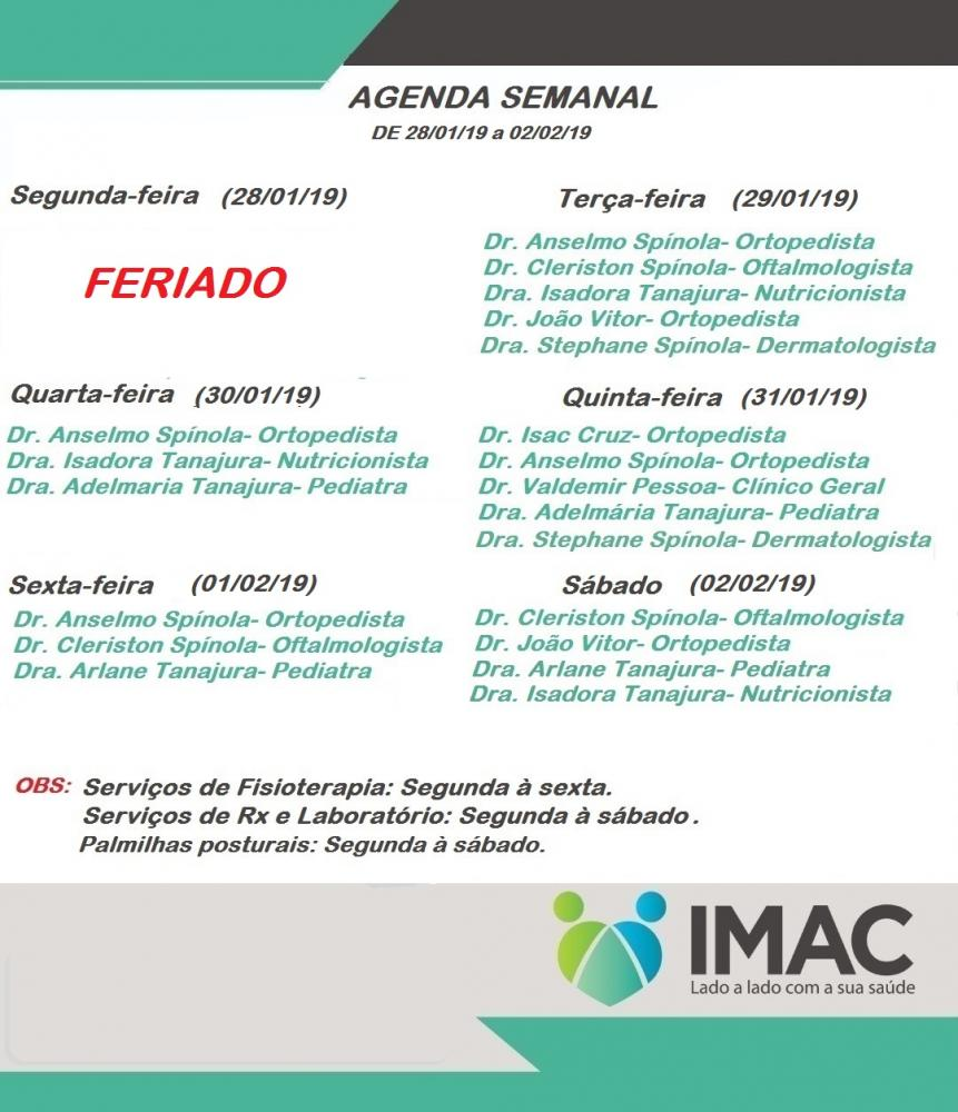 Confira agenda semanal da IMAC Especialidades Médicas