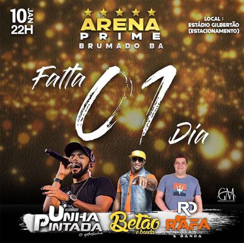 Nesta sexta (10) tem show de Unha Pintada o fenômeno do Arrocha Romântico no Arena Prime Brumado