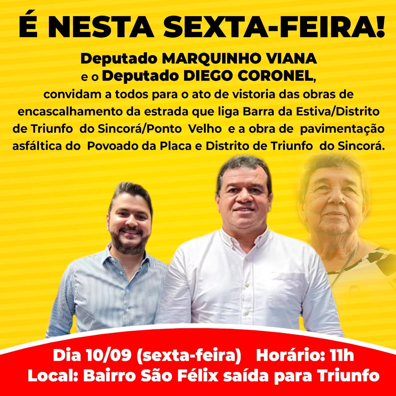 Deputados Marquinho Viana e Diego Coronel convidam para vistoria de obras de rodovias