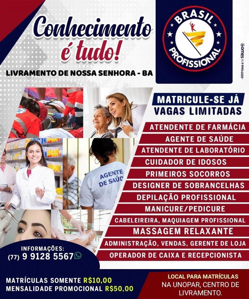 O Instituto Brasil Profissional convida você para fazer  os cursos  profissionalizantes em Livramento; confira