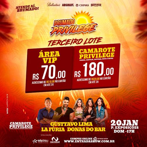 Brumado Privilege com Gusttavo Lima, La Fúria e Donas Bar é neste domingo (20); ingressos no terceiro lote já à venda