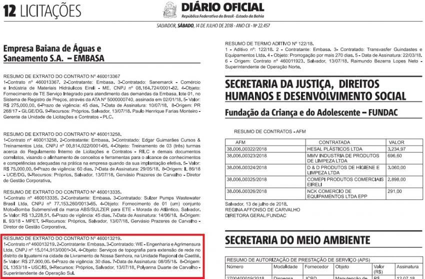 Publicado o resumo do extrato do contrato da topografia para a extensão da rede de água para o distrito de Iguatemi