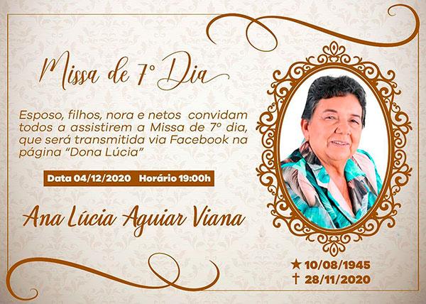 Missa de 7º dia de Dona Lúcia acontece nesta sexta (04)