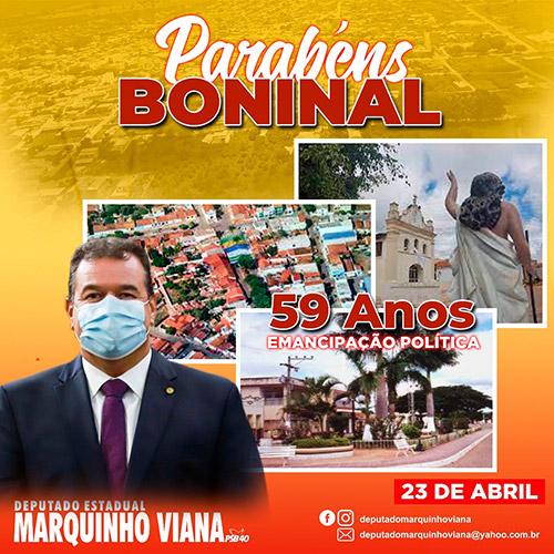 Deputado Marquinho Viana parabeniza Boninal 59 anos de emancipação política