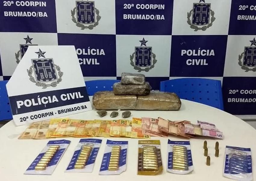 Brumado: Polícia Civil apreende drogas, munições e recupera bicicleta roubada.
