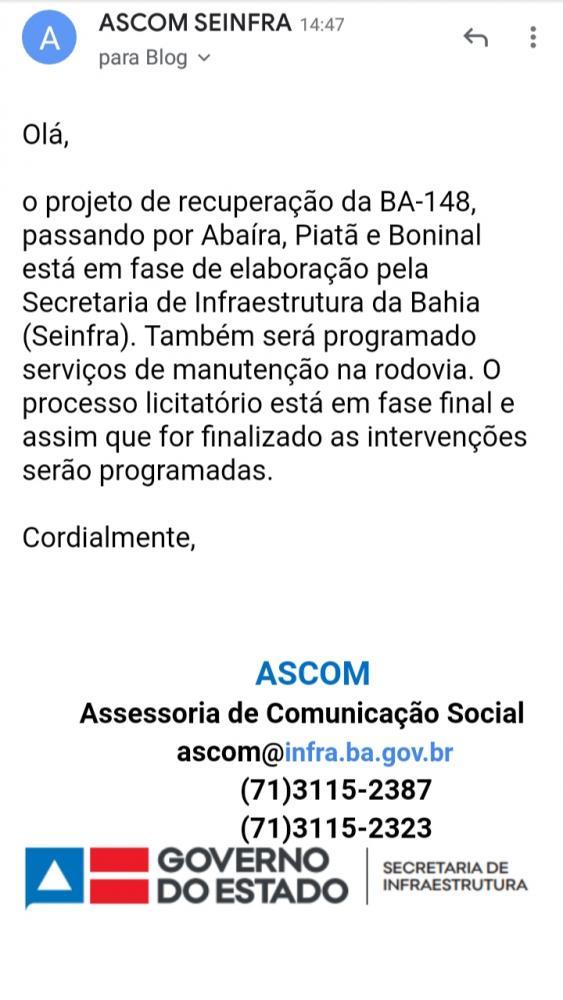 Em nota, Seinfra apresenta parecer sobre buracos na BA-148 trecho que liga Abaíra, Piatã e Boninal