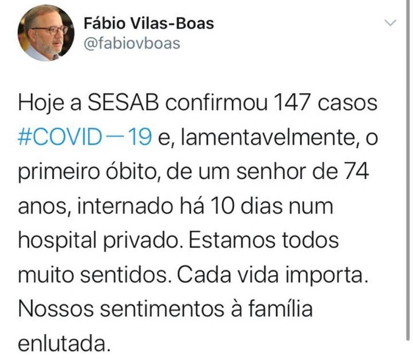 Bahia registra primeira morte de paciente com coronavírus