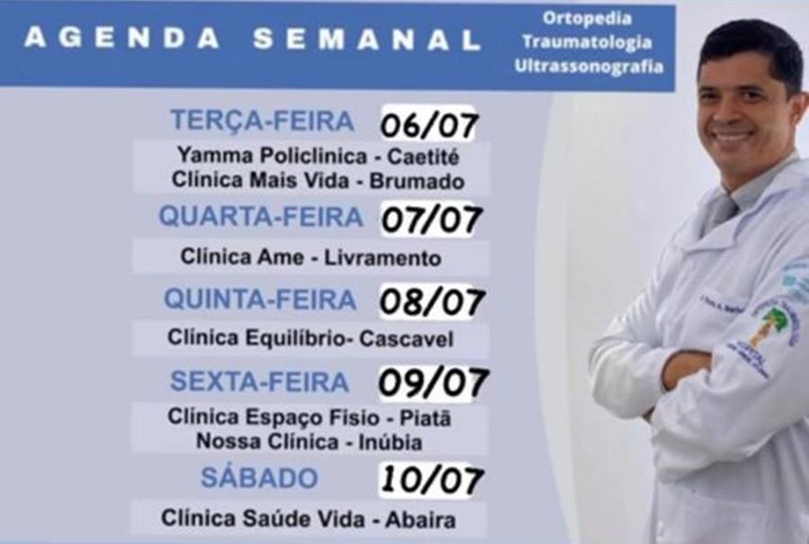 Confira agenda semanal do doutor Ricardo Barbosa ortopedista e ultrassonografia músculo esquelético