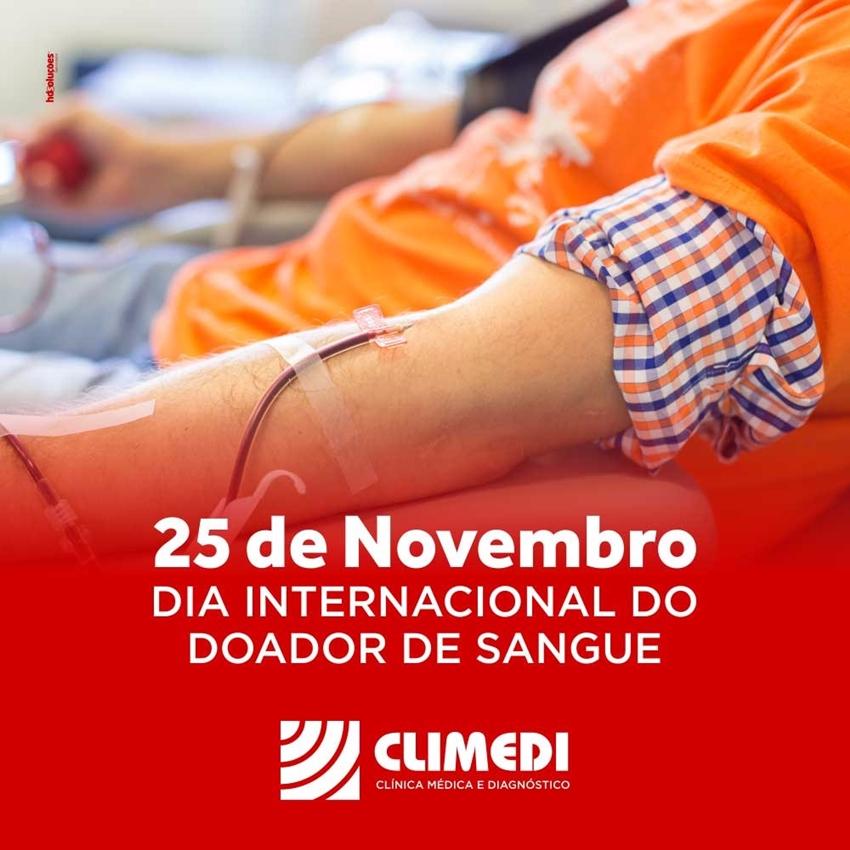 Climedi: 25 de novembro dia internacional do doador de sangue