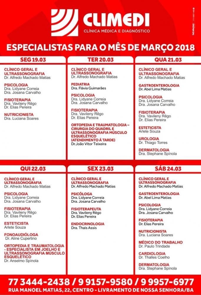 Confira agenda da CLIMEDI da próxima semana