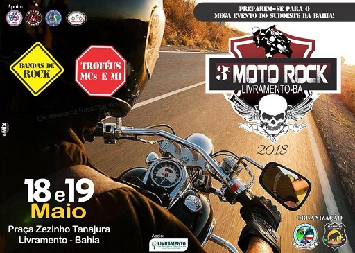 3º Moto Rock acontecerá nesta sexta e sábado em Livramento de Nossa Senhora