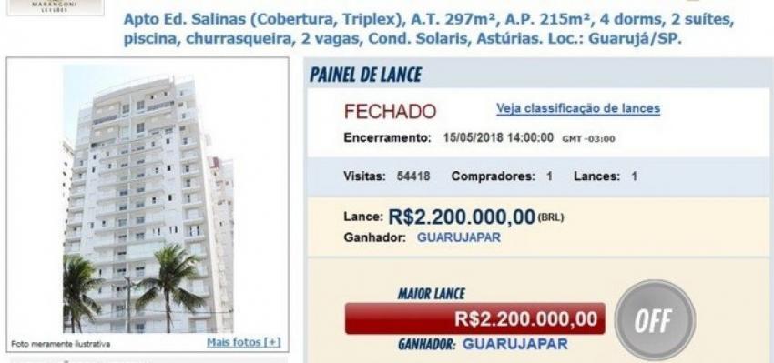 Triplex de Lula é arrematado com oferta única de R$ 2,2 milhões