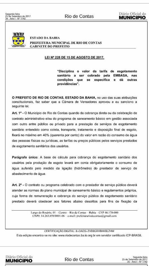 Prefeito de Rio de Contas sanciona lei que reduz taxa de esgoto na conta de água do município