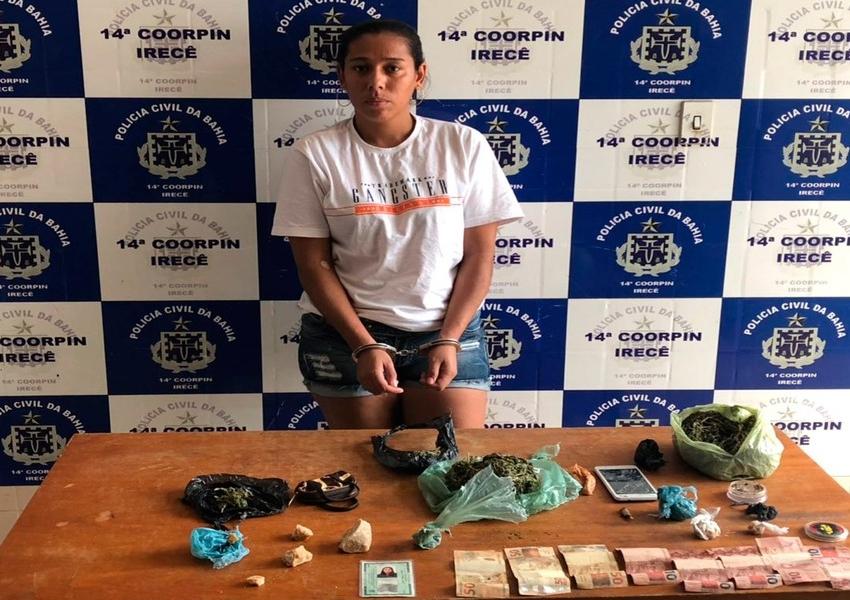 Irecê: Mulher é presa em suposto ponto de venda de drogas após denúncia anônima