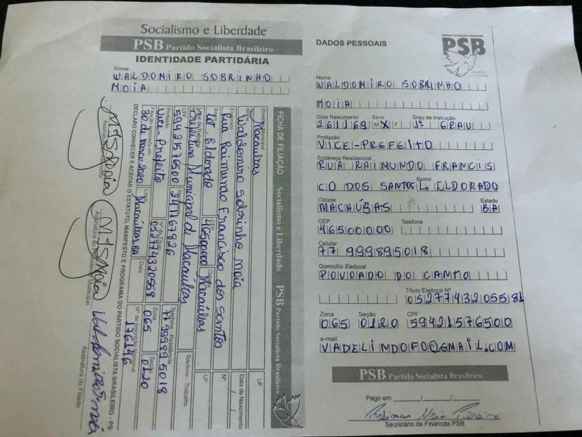 Vice-prefeito de Macaúbas, Vá de Lindolfo se filia ao PSB no Gabinete do Deputado Marquinho Viana