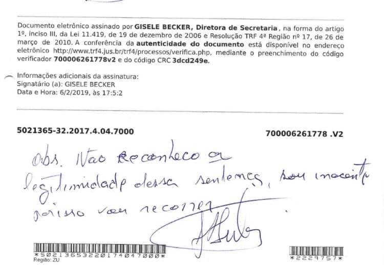 Em intimação, Lula escreve que não reconhece sentença do sítio de Atibaia