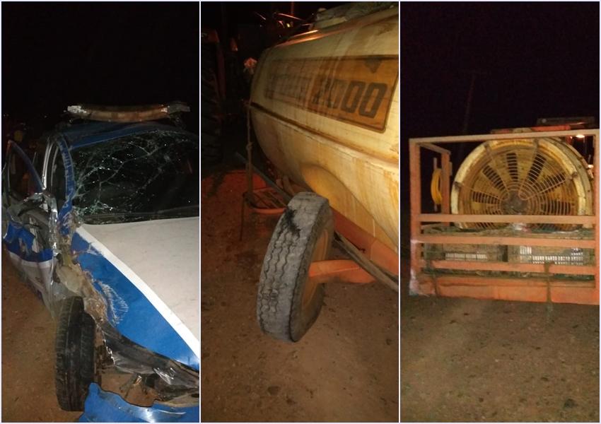 Livramento: Viatura da Polícia Civil capota após colidir na traseira de trator na BA-148