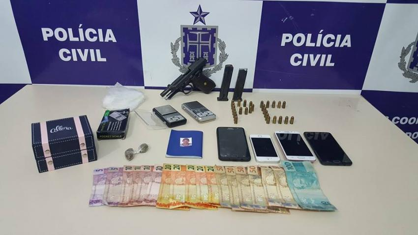 Brumado: Polícia Civil apreende pistola, munição, droga e dinheiro