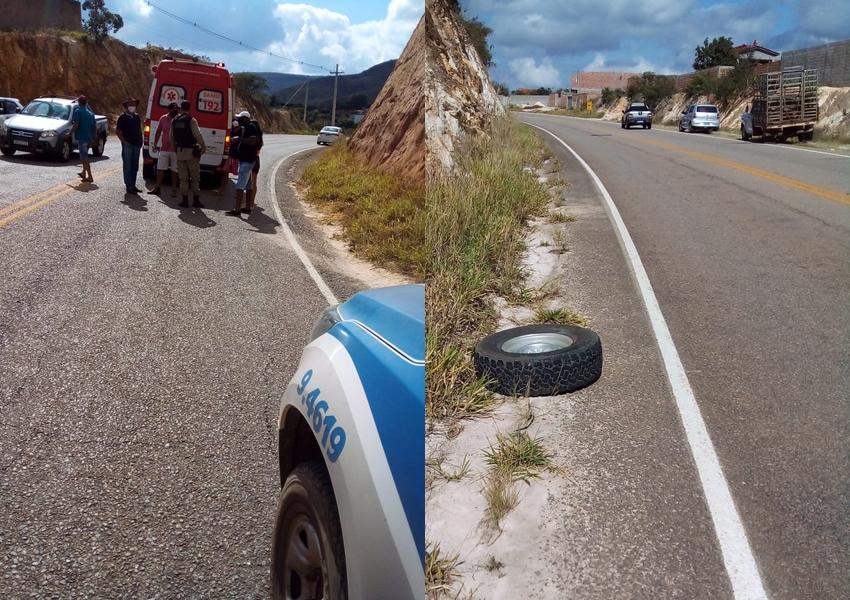 Roda de carro se solta e atinge motocicleta em Rio de Contas