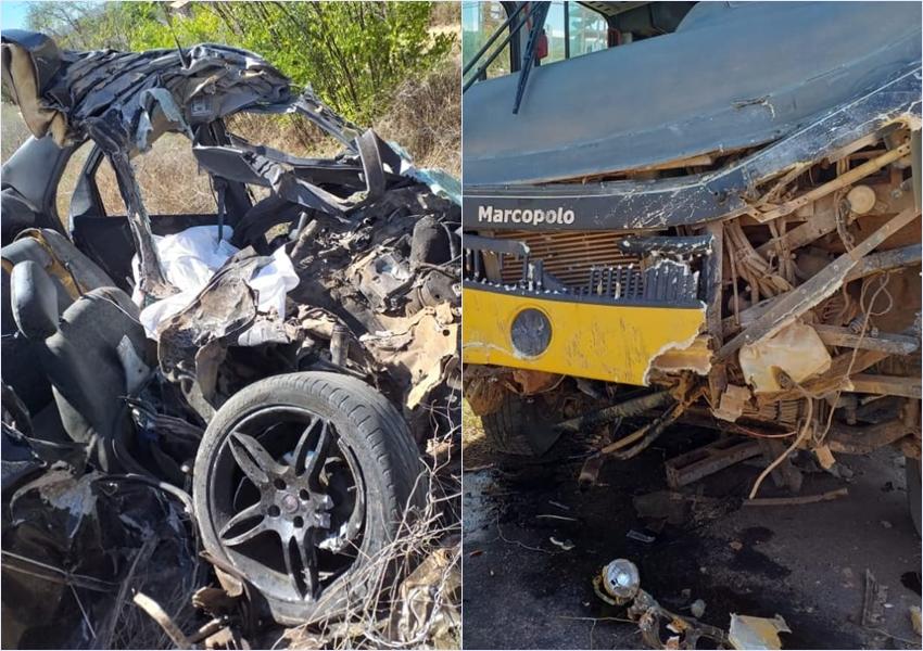Ituaçu: Jovem morre e outros ficam feridos após batida entre carro e ônibus que levava estudantes para fazer Enem