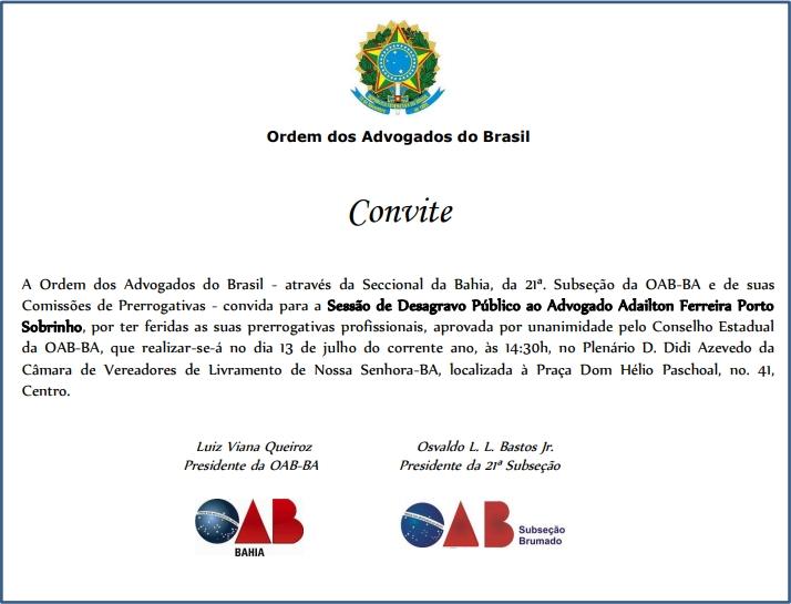 OAB/BA Realiza na sexta feira (13) sessão de desagravo público ao advogado Adailton Porto