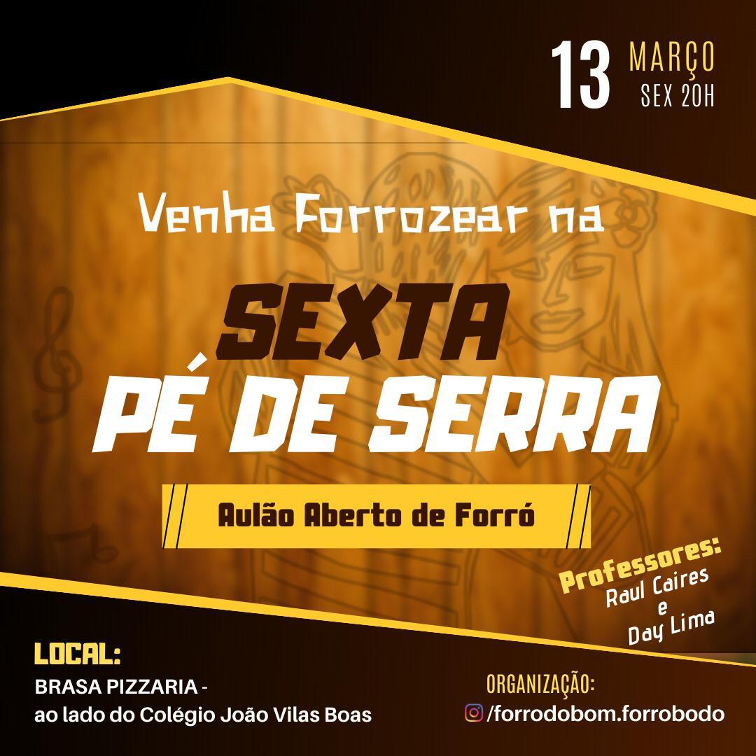 Livramento: Aulão de Forró Pé de Serrá acontece nesta sexta-feira (13) na Brasa Pizzaria