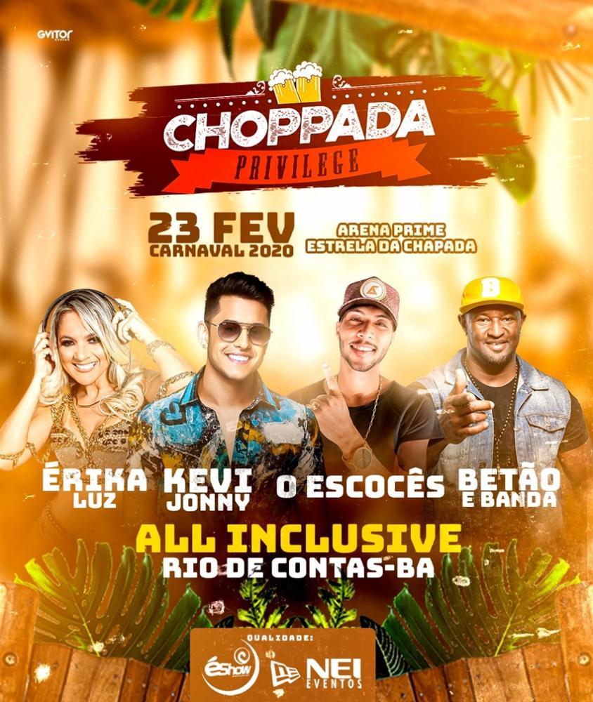Choppada Privilege será realizada no Carnaval 2020 em Rio de Contas