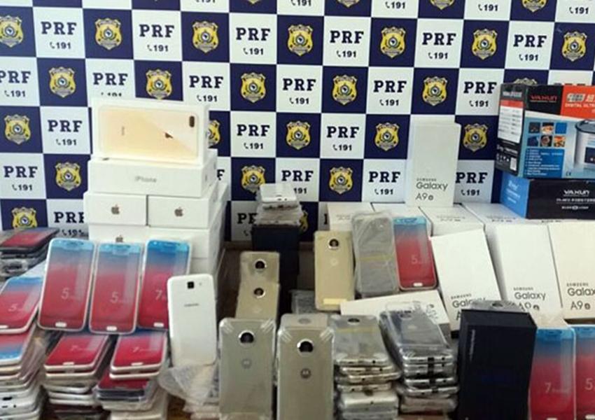 PRF apreende mais de 700 aparelhos eletrônicos sem nota fiscal em Vitória da Conquista/BA