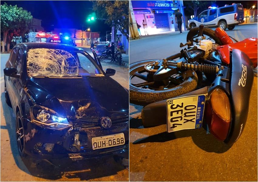 Livramento: Adolescente fica ferido ao colidir moto em carro no Bairro Taquari