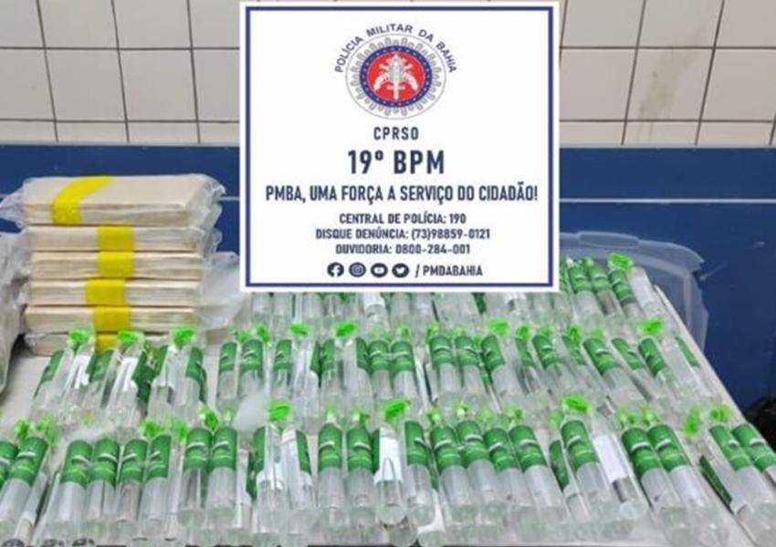 Polícia apreende tabletes de pasta base de cocaína e lança-perfume no sudoeste da Bahia