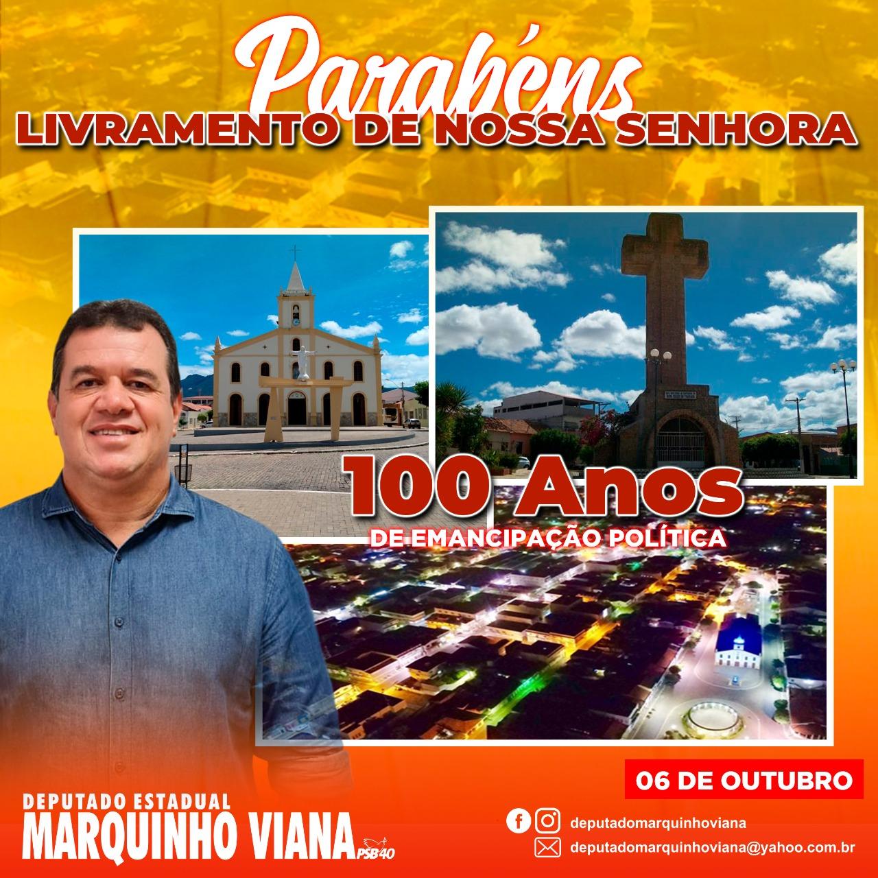 Deputado Marquinho Viana parabeniza Livramento pelos 100 anos de emancipação política