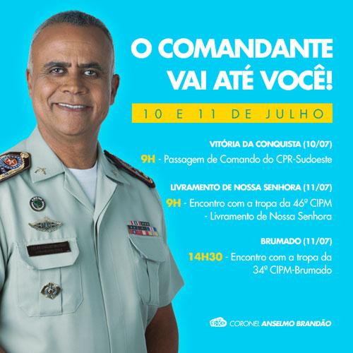 Comandante geral da Polícia Militar visitará Brumado e Livramento
