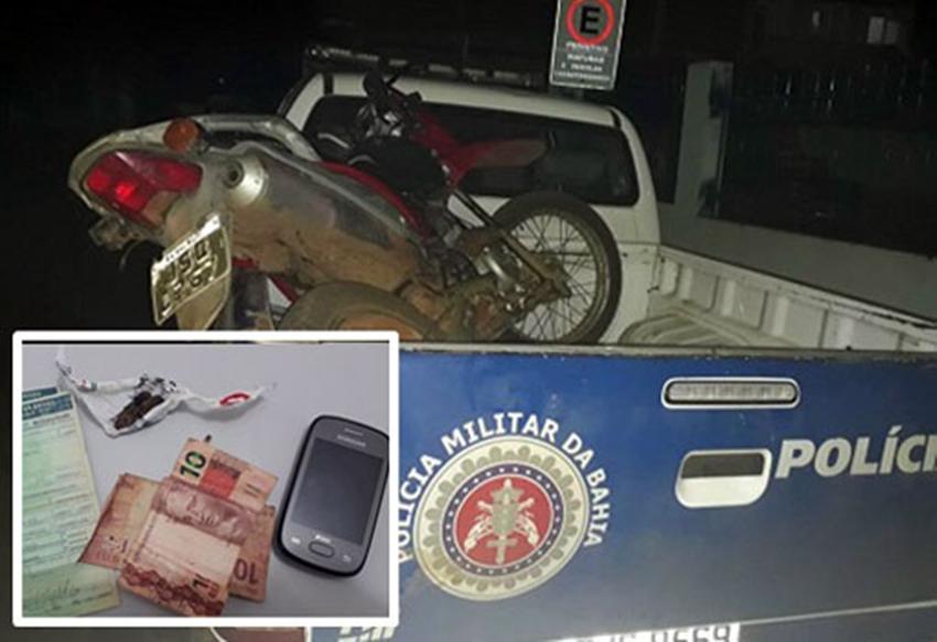 Livramento: andarilho é detido pela policia com moto irregular e maconha