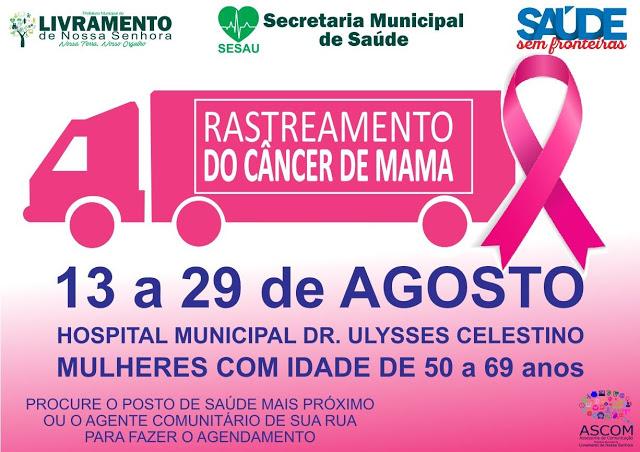 Livramento: Mutirão da Mamografia será realizado do dia 13 a 29 de agosto no Hospital Municipal
