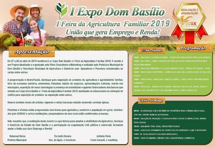 Dom Basílio realizará I Feira da Agricultura Familiar 2019