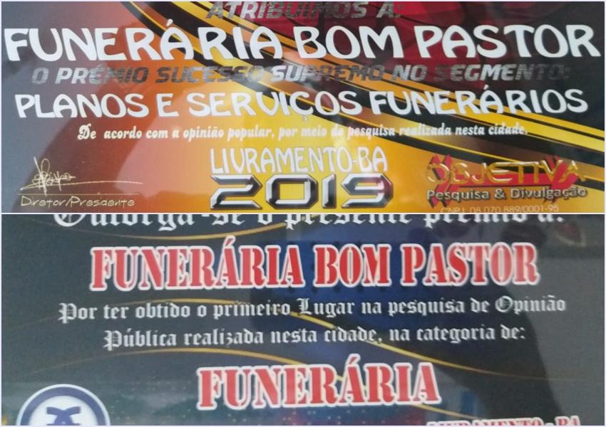 Livramento: Funerária Bom Pastor recebe prêmio Êxito e Sucesso Supremo