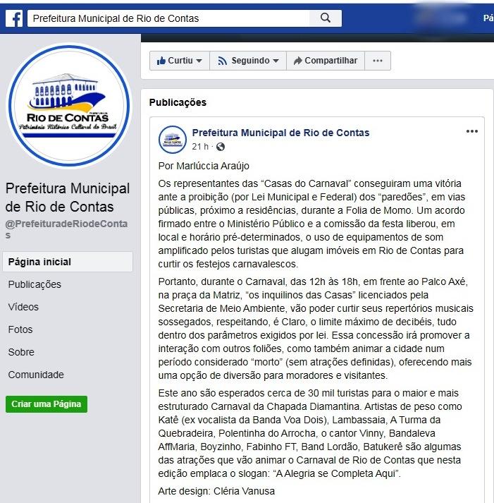 Carnaval 2020: MP informa que nenhum acordo foi feito para uso de paredões no carnaval e equipamentos sonoros não serão permitidos em Rio de Contas