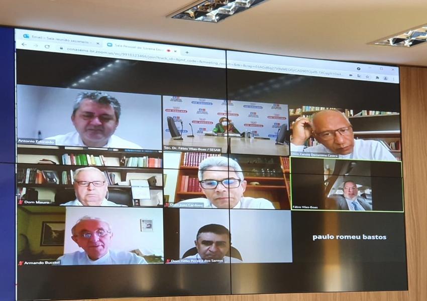 Bispo Dom Armando Bucciol participa de reunião com o secretário da Saúde da Bahia, Fábio Vilas-Boas