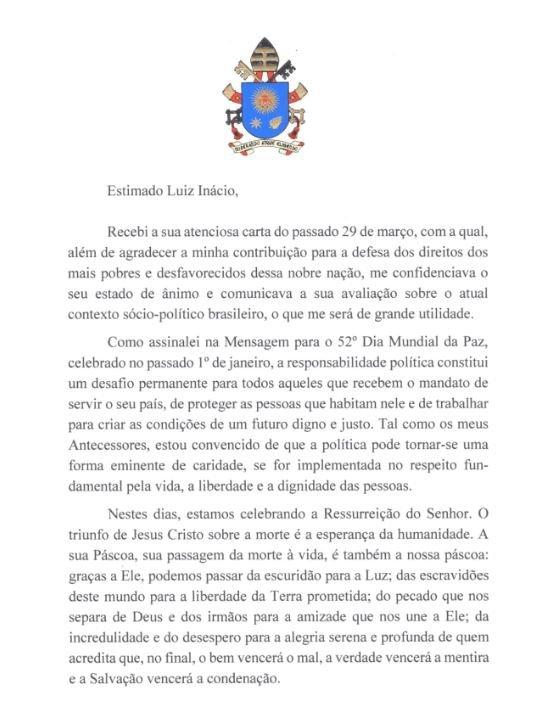 Em carta a Lula, Papa Francisco pede que ex-presidente 'não desanime'; leia