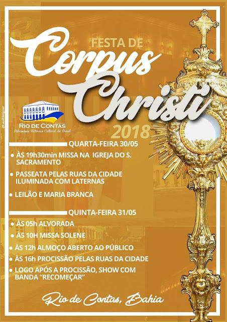Prefeitura de Rio de Contas divulga programação da tradicional festa de Corpus Christi 2018