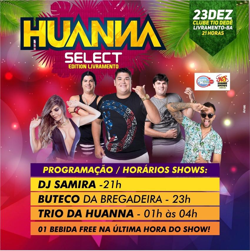Divulgada programação de shows do Huanna Select em Livramento