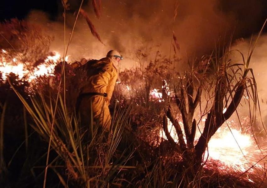 Incêndio atinge área florestal na cidade de Andaraí, região da Chapada Diamantina