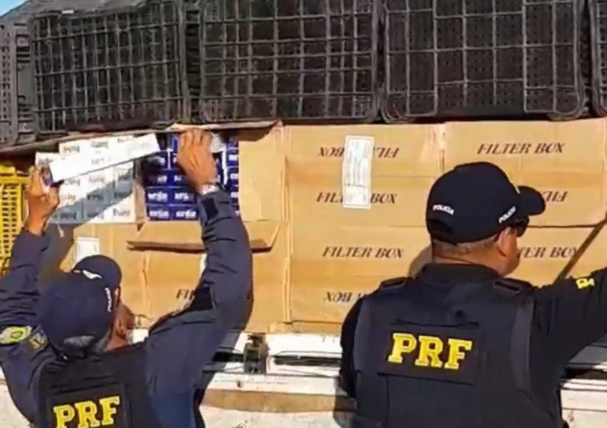 Motorista de caminhão é detido ao transportar mais de 1 milhão de cigarros contrabandeados