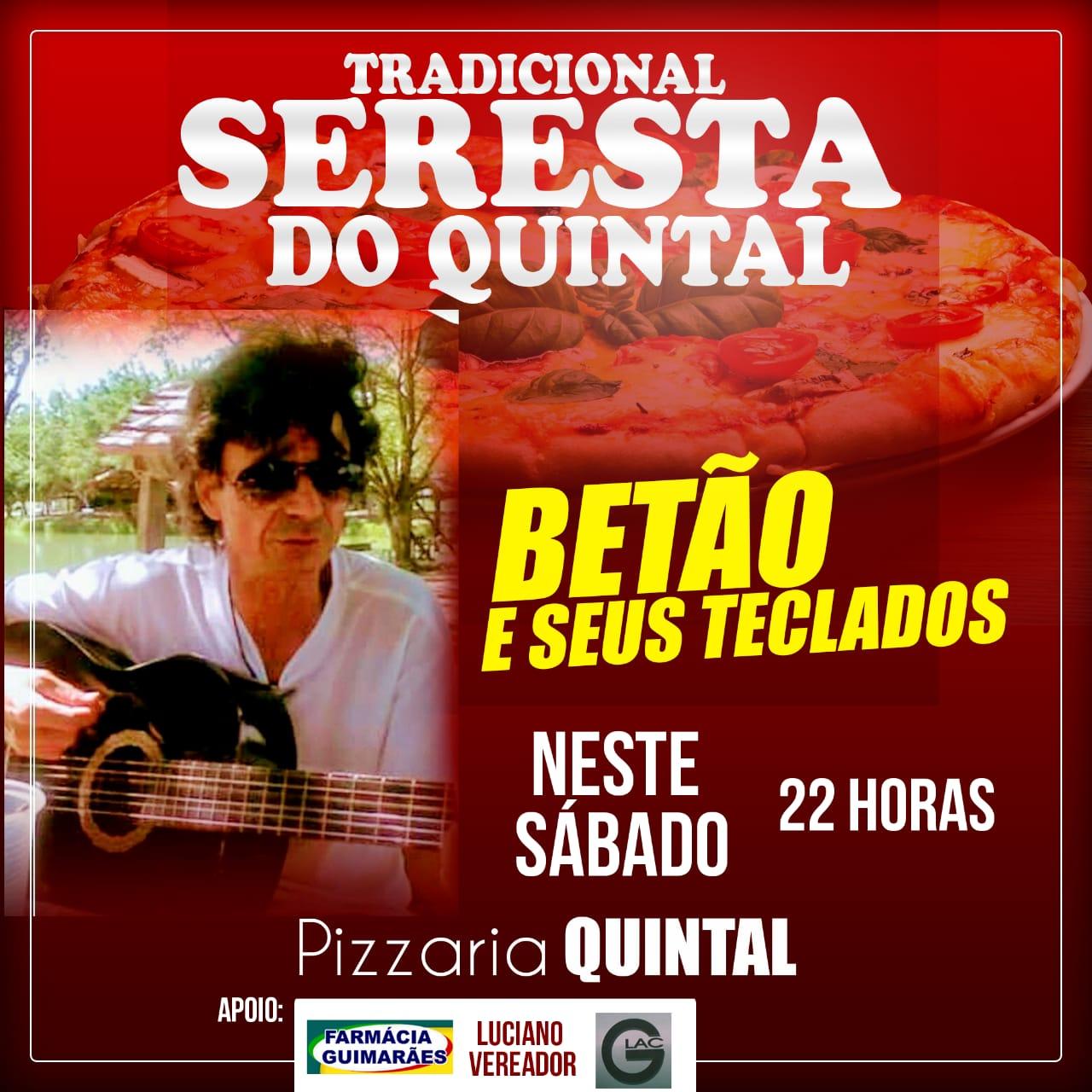 Neste sábado tem seresta  com Betão na Pizzaria Quintal em Rio de Contas