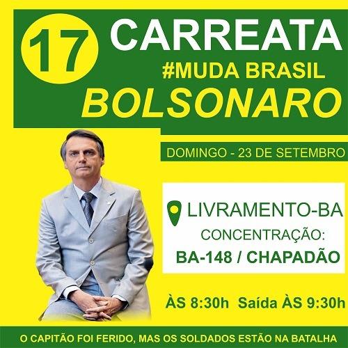 Neste domingo tem carreata pró-Bolsonaro em Livramento