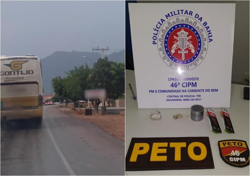 Após denúncia de tentativa de assalto, PM apreende drogas em ônibus da Gontijo em Livramento